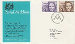 GB LETTRE FDC 1973 MARIAGE PRINCIER - 1971-1980 Dezimalausgaben