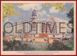 FRANCE - ALLIER - VICHY - EAU MINERALE NATURELLE VIVANTE - HOTEL DU PARC - HOTEL MAJECTIC - ORIGINAL ADV. POSTCARD - Publicidad