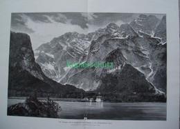 105 Königssee Bartholomä Riesenbild 54x39 Cm Druck 1899!! - Stampe