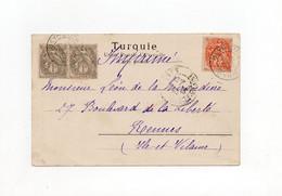 !!! TYPES BLANC DU LEVANT SUR CPA DE 1904 POUR RENNES, CACHETS BEYROUTH SYRIE - Covers & Documents