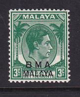 B.M.A. (Malaya): 1945/48   KGVI 'B.M.A.' OVPT   SG4a    3c  Blue-green  [ordinary]    MH - Malaya (British Military Administration)