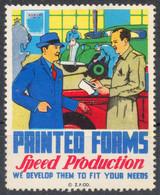 CAR OLDTIMER VETERAN AUTOMOBILE Garage Service USA Printing Press ADVERTISING Label Cinderella Vignette 1950 - Automobili
