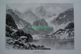 164 Heyn: Finstertalsee Gletscher Ötztaler Riesenbild 41x27 Cm Druck 1899!! - Stampe