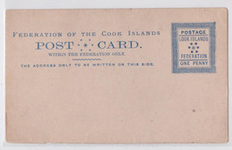 COOK ISLANDS FEDERATION ONE PENNY POSTAL STATIONERY POST CARD ENTIER CARTE POSTALE ÎLES COOK PS EP - Cookeilanden