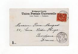 !!! 10C MOUCHON DU LEVANT SUR CPA DE 1907 POUR BORDEAUX, CACHET JERUSALEM - PALESTINE - Covers & Documents