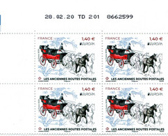 "FRANCE 2020  Y&T N° 5397 : ""Europa"" Anciennes Routes Postales - Coin Daté 28.02.20 - 2010-...."
