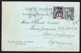 1904 GZ Karte Mit überdruckter Zusatzmarke Aus Noumea, Neukaledonien Nach Barcelona. Minim Fleckig. - Covers & Documents