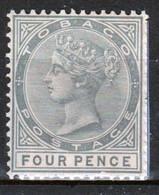 Tobago 1885 Victoria Single 4d Stamp From The Definitive Set In Fine Used - Trinidad & Tobago (...-1961)
