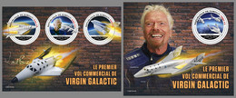 DJIBOUTI 2021 MNH Virgin Galactic Richard Branson Space Raumfahrt Espace M/S+S/S - IMPERFORATED - DHQ2143 - Africa