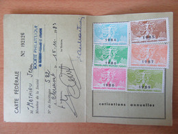 Carte De La Fédération Des Sociétés Philatéliques De France Avec Vignettes De 1984 à 1989 - Autres