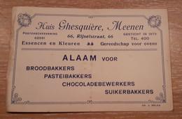 MEENEN, MENIN, HUIS GHESQUIERE, ALAAM VOOR BROOD- EN PASTEIBAKKERS, CHOCOLADEWERKERS .... TEL. 400 - Visiting Cards
