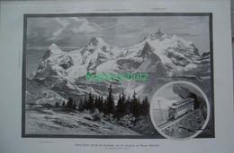 167 Guyer Zellers Projekt Jungfraubahn Riesenbild 40x28 Cm Druck 1899!! - Stampe