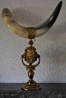 Grande Corne D'abondance Montée Sur Bronze Ciselé à Tête De Bouc 19è XIXè RARE - Autres