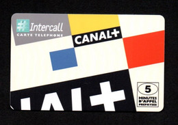 "CARTE TELEPHONE Intercall 5 Unités ""CANAL+"" - Tirage 150.000 Ex. 1998 - Thème Média - Code Non Gratté - Altre Schede Prepagate"