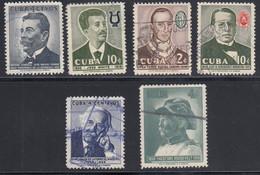 Cuba, Scott #594, 597, 599, 605, 607, 610, Used, Gomez, Musicians. De La Torre, Roosevelt, Issued 1958 - Used Stamps