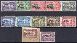 Tristan Da Cunha 1952 Overprint Definitives Set Of 12, Used, SG 1/12 - Tristan Da Cunha