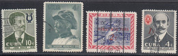 Cuba, Scott #597, 610, 624, 629, Used, Musician. Roosevelt, Surcharges, Issued 1958-60 - Used Stamps