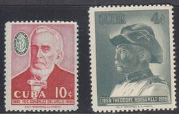 Cuba, Scott #601, 610, Mint Hinged, Del Valle, Roosevelt, Issued 1958 - Unused Stamps