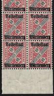 """WÜRTTEMBERG 1919, Aufdruck """"Volksstaat"""" Auf 40 Pfg. Viererblock ** Mit Abarten Auf Feldern 94-95, Mi.Wert 90 Euro - Wuerttemberg"""