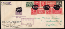 """U.S.A. (1928) Apple Inscribed """"TON"""". Fancy Cancel From Appleton, Wisconsin. Six Strikes In Black On Oversized Reg. Cover - Postal History"""