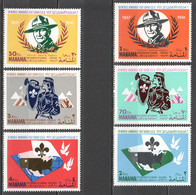 AR042 1967 MANAMA AIR MAIL REFLECTIVE FOIL OVERPRINT 12TH WORLD JAMBOREE SCOUTING MICHEL #31A-36A 1SET MNH - Unused Stamps