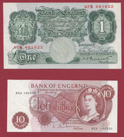 Royaume-Uni 2 Billets --1 En UNC (10 Schillings) Et 1 En SUP+(1 Pound)--(452) - Ohne Zuordnung