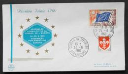 FRANCE - EUROPA - CEPT - IDEES EUROPEENNES - EUROPARAT / 1960 T. DE SERVICE SUR ENVELOPPE ILLUSTREE (ref EUR274) - Briefe U. Dokumente