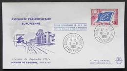 FRANCE - EUROPA - CEPT - IDEES EUROPEENNES - EUROPARAT / 1961 T. DE SERVICE SUR ENVELOPPE ILLUSTREE (ref EUR273) - Briefe U. Dokumente
