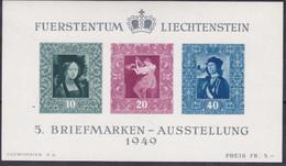 Liechtenstain - 485 ** 1949 - Esposizione Filatelica Di Vaduz, Foglietto N. 8. Cat. € 160,00. SPL - Ungebraucht