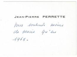 JEAN-PIERRE PERRETTE 1965 AU DOS MAITRE F. PATRIMONIO - Visiting Cards