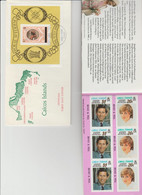"""CAICOS ISLAND  ROYAL  WEDDING 1981 CHARLES + DIANA Lot  FDC + 1BF + ( 7  """"BEND & PEEL"""" IMPERF In 1 BOOKLET)  Réf  640 T - Other"""