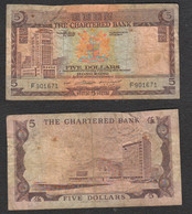 HONG KONG 5 FIVE DOLLARS 1977 - 5 $ Pic 73 The Chartered Bank - Hongkong