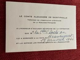 Carte De Visite Manuscrit Noblesse Généalogie LE COMTE ALEXANDRE DE SAINT-PHALLE - Visiting Cards