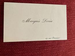 Carte De Visitet Noblesse Généalogie MARQUIS DORIA - Visiting Cards