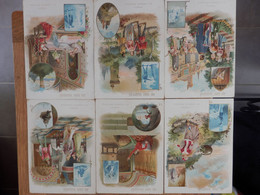 """Lot De 6 Fiches (11,5 X 16 Cms)  Cartonnées Illustrées """"Au Bon Marché"""" - Geschiedenis"""