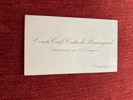 Carte De Visite  Noblesse Généalogie COMTE CARL COSTA DE BEAUREGARD  LIEUTENANT AU 5 EME DRAGONS - Visiting Cards