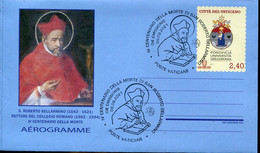 67078 Vaticano, Aerogramme 2021  With Special First Day Postmark ,roberto Bellarmino, IV Centenary Of Death - Interi Postali