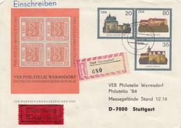 D U1/2b  VEB PHILATELIE WERMSDORF- 20Pf Neben 80 Pf Darunter 35 Pf - Burgen  - Philatelia 1984 Stuttgart,Wermsdorf - Postkarten - Gebraucht
