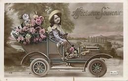 Themes Div Ref GG903- Enfants  - Transports - Voitures - Fillette En  Voiture Automobile - - Taferelen En Landschappen