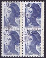 Bloc De 4 TP Oblitérés N° 2240(Yvert) France 1982 - Liberté De Gandon - 1982-90 Liberté De Gandon