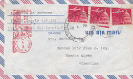 U.S.A. ENVELOPE. CIRCULATED 1968, AIR MAIL. HOLLYWOOD TO BUENOS AIRES, ARGENTINA.- LILHU - Covers & Documents