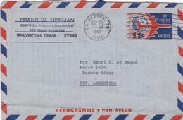 U.S.A. AEROGRAMME. CIRCULATED 1966, AIR MAIL. GALVESTON TO VILLA BALLESTER ARGENTINA.- LILHU - 3c. 1961-... Covers
