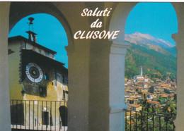 CLUSONE (BERGAMO) CARTOLINA - SALUTI DA CLUSONE - Bergamo