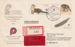 D U7/3b** VEB Philatelie Wermsdorf - Philatelia `87 Köln -  Fischotter 35 Pf Neben 80 Pf Darunter 2o Pf, Wermsdorf - Postkarten - Gebraucht
