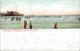 California Long Beach Surf Scene Showing Pier 1906 - Long Beach