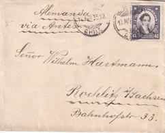 CHILE 1923 40 C COVER VALPARAISO-ROCHLITZ/ SACHSEN GERMANY - Cile