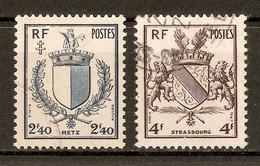 1945 - Libération De Metz Et De Strasbourg (Armoiries) N°734-35 - Gebraucht