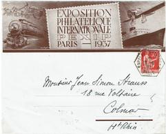 CTN74 - FRANCE - PAIX 50c SUR ENV. EXPOSITION PHILATELIQUE INT.LE 18/6/1937 - Briefmarkenausstellungen