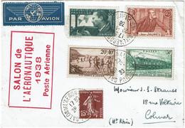 CTN74 - FRANCE - SALON DE L'AERONAUTIQUE PARIS 28/11/1938 - Briefmarkenausstellungen