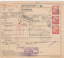 PAKETKARTE. HEILBRONN. 30 MAI 1961BANDE DE 3 DU 80Pf ROUGE. AACHEN. HERBESTHAL. MECHELEN BELGIEN - Briefe U. Dokumente